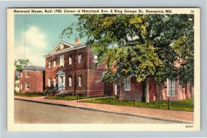Annapolis MD-Maryland, The Harwood House, Linen Postcard