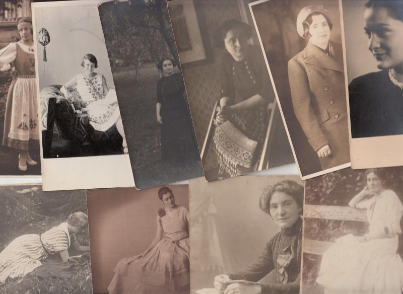 Early real photo postcards elegant women portraits fancy dresses retro fashion
