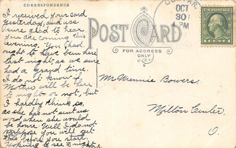When Were You Last in Custar Ohio~Saw Your Picture~Lady At Desk~1913 Pennant