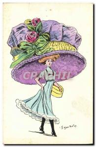 Old Postcard Fantasy Illustrator Woman Sheep Hat