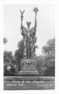 Chicago Illinois Statue Republic Park 1930s RPPC Photo Postcard Groganized 9552