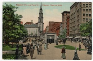 Boston, Mass, Tremont St. and Park St. Church