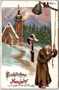 1910s German HAPPY NEW YEAR Postcard Priest Ringing Bell Froliches Neujahr
