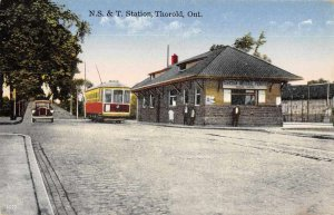 Thorold Ontario Canada NS and T Station Trolley Vintage Postcard AA4160
