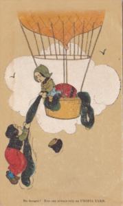 Advertising Utopia Yarns Showing Dutch Children In Hot Air Balloon
