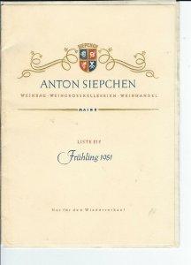 MC-147 - Anton Siepchen Germany Wine List Fruhling 1951 Vintage with Letterhead