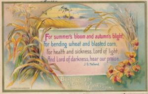 Thanksgiving Greetings and Best Wishes - Poem by J. G. Holland - pm 1910 - DB