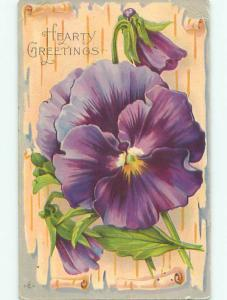 Pre-Linen BEAUTIFUL LARGE PURPLE PANSY FLOWERS k4505