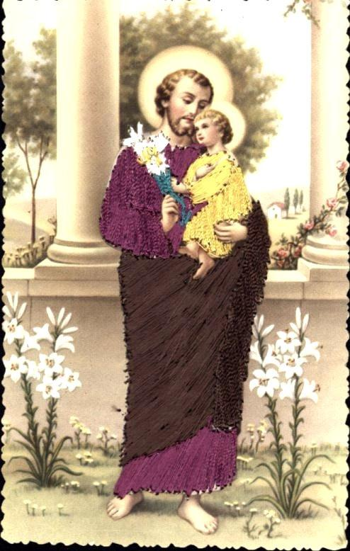 ST JOSEPH HOLDING BABY JESUS~RELIGIOUS SILK WOVEN POSTCARD FROM SPAIN