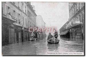 Postcard Old Paris Floods in January 1910 Flood of the Seine Street Srucouf