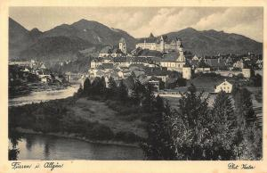 Fussen im Allgau Auf Wiedersehen Bayer Oberland Castle River Postcard