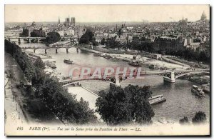 Old Postcard Paris I view of the Seine taking the Pavillon de Flore