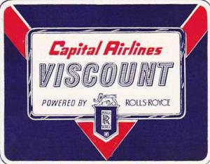 CAPITAL AIRLINES VINTAGE AIRLINES LUGGAGE LABEL
