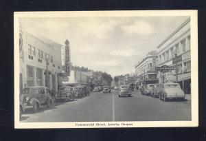 ASTORIA OREGON DOWNTOWN COMMERCIAL STREET SCENE OLD CARS VINTAGE POSTCARD
