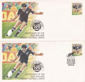 Rugby New Zealand NZRFU Football Union 2x 1992 First Day Cover s