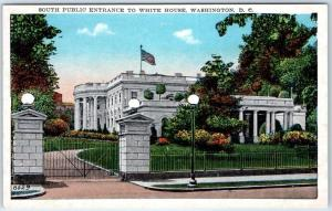 Washington DC Postcard PUBLIC ENTRANCE TO WHITE HOUSE Street View 1920s Unused