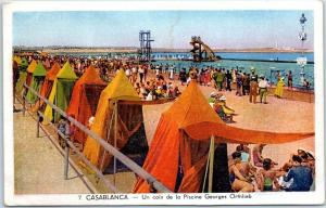 CASABLANCA, Morocco Postcard Bathing Beach Scene Georges Orthlieb UNUSED