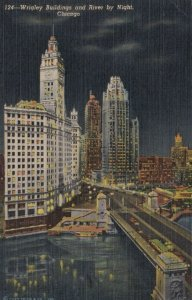 CHICAGO, Illinois, 30-40s; Wrigley Buildings and River by Night