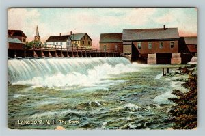 Lakeport NH-New Hampshire, The Dam, Vintage c1907 Postcard