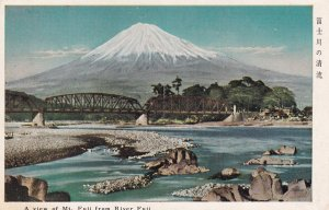 JAPAN, 1950-1960's; View Of Mt. Fuji From River Fuji
