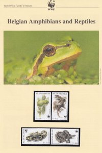 Belgian Belgium Amphibians & Reptiles WWF Stamps and Set Of 4 First Day Cover...