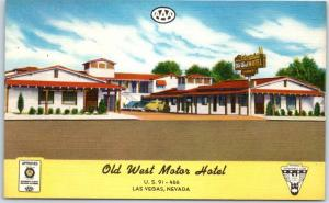 Las Vegas, Nevada Postcard OLD WEST MOTOR HOTEL Highway 91 Roadside Linen c1950s