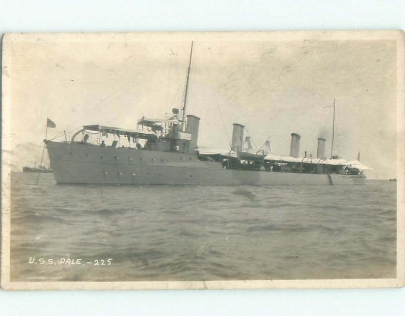 Pre-1930 rppc USS DALE SHIP BOAT Cavite On Manila Bay Philippines i9537