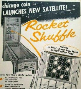 Chicago Coin Rocket Shuffle Arcade FLYER Original Vintage Game Art Print 1958