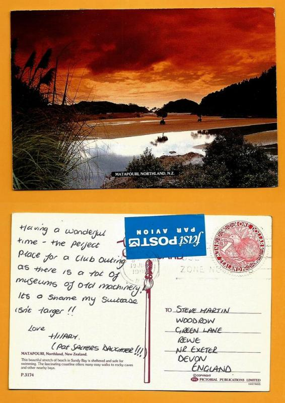 NEW ZEALAND POSTCARD-STAMP-MATAPOURI-NORTHLAND N.Z