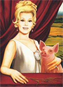 Green Acres Eva Gabor and Arnold Ziffel Pig by Isabel Samaras Art Large Postcard