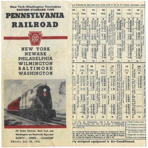 Pennsylvania Railroad July 1941 Timetable & Schedule New York & Newark