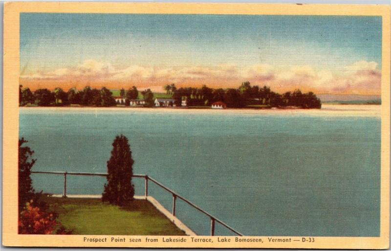 Prospect Point From Lakeside Terrace Lake Bomoseen VT c1952 Vintage Postcard L02