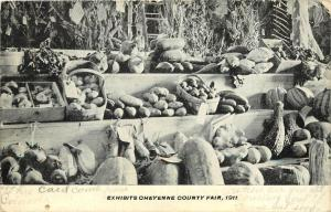 Vintage Postcard; Agriculture Produce Exhibits Cheyenne County Fair CO, 1911
