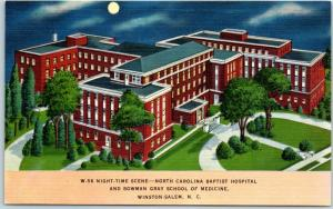 Winston-Salem, NC Postcard NORTH CAROLINA BAPTIST HOSPITAL Night View Linen