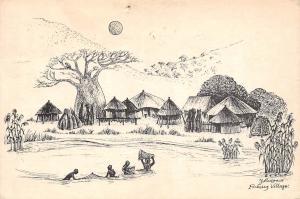 Zambia Fishing Village signed illustration drawing, J. Musgrave 1978