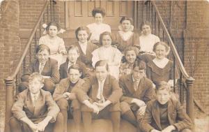 Rhode Island Ashaway Grade School Children  in front of school All named on...