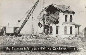 RP: BUNKERHILL , Illinois , 1948 ; Tornado , Wrecking Ball Cleanup
