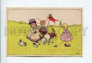 3156672 EASTER Girls w/ Rabbits Sheep by EBNER old M.M. VIENNE
