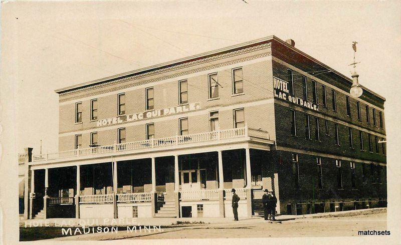 c-1910 Hotel Lac Qui Parle Madison Minnesota RPPC real photo postcard 6508