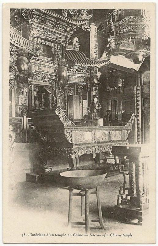 China c.1905 UB postcard - Chinese Temple interior
