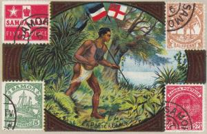Trade Card (TC): La Poste a SAMOA , w/ Stamps , 1880-90s