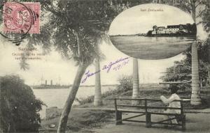 suriname, PARAMARIBO, Roadstead View with Steamer, Fort Zeelandia (1905) Stamp