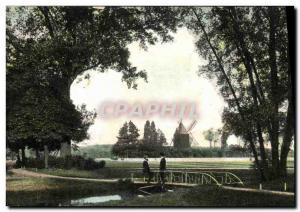 Postcard Old Windmill Paris Bois de Boulogne Behind the Longchamp mill