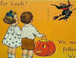 Vintage Halloween Postcard Tuck Series 188 Embossed Flying Witch Oakland CA 1912