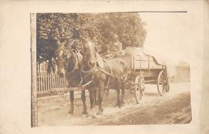 D86/ Occupational RPPC Real Photo Postcard c1910 Delivery Wagon Horses 1