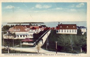 CATHOLIC SUMMER SCHOOL, LAKE CHAMPLAIN, Crab Island in distance, CLIFF HAVEN, NY