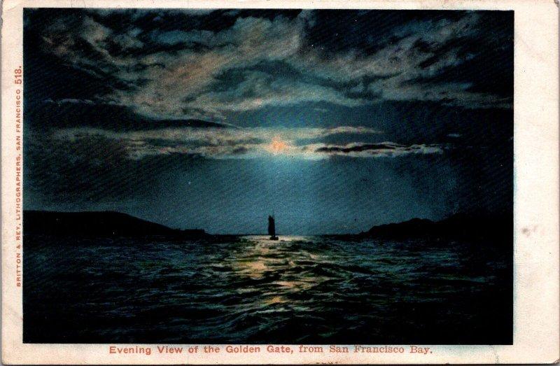 Evening View Golden Gate, San Francisco Bay. C.A. vtg postcard