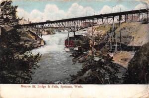 Wash. Monroe St. Bridge & Falls, Spokane 1909
