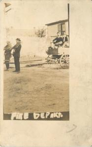 Fire Department Comic~Man-Drawn Fire Truck~Real Photo Post Card c1913