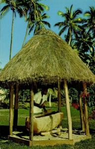 fiji islands, The Beating of Lali (1960s) Curteich 1031